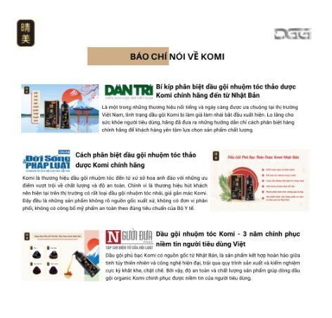 Các trang báo lớn liên tục đưa tin về dầu gội Komi Nhật Bản