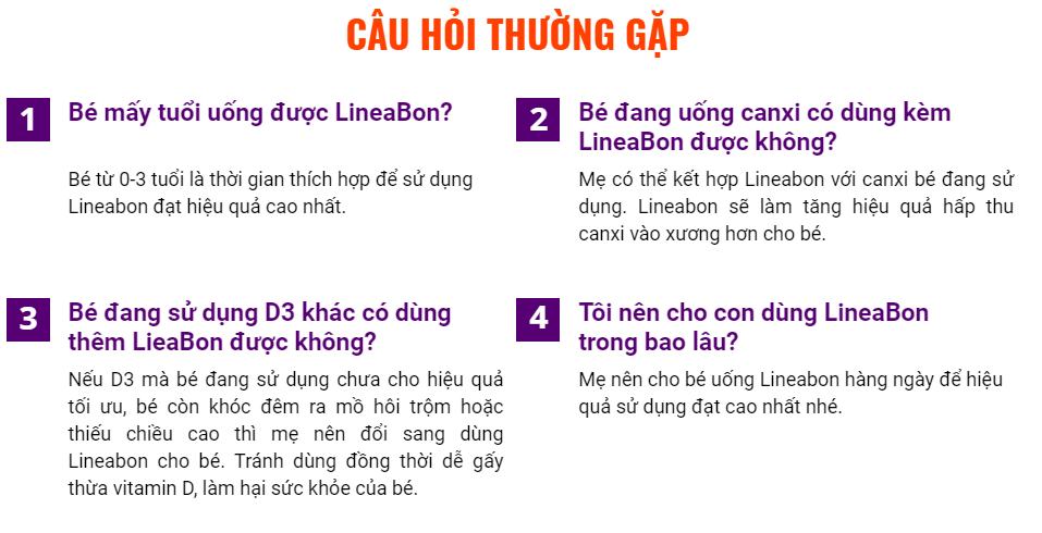 Câu hỏi thường gặp về sản phẩm Lineabon K2+D3
