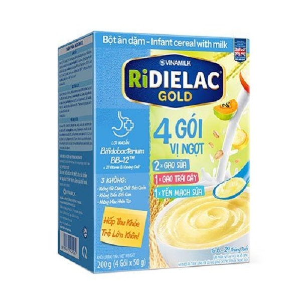 Bột ăn dặm Ridielac 4 gói 3 vị ngọt