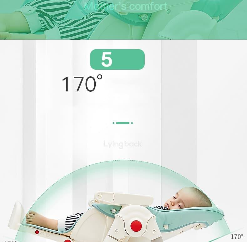 Khả năng ngả 170 độ ra phía sau giúp bé thoải mái, không mỏi cổ