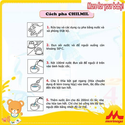 Cách pha sữa morinaga số 2