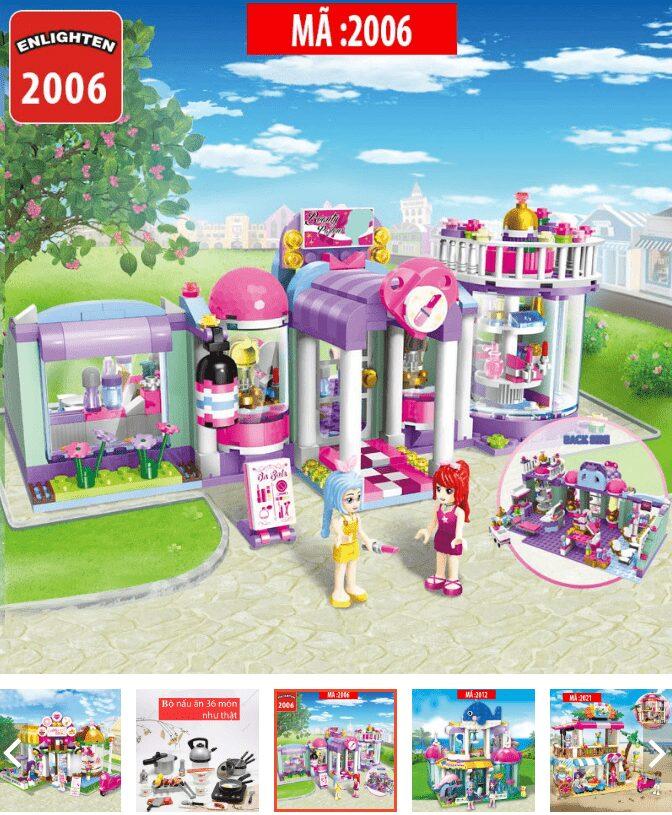 Đồ chơi bé gái xếp hình lego tiệm bánh kem