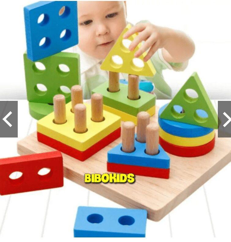 Đồ chơi gỗ hình khối cho bé trai 2 tuổi