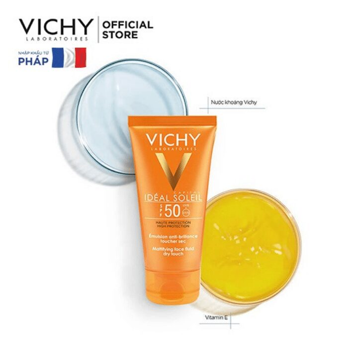 Kem chống nắng không dầu, không nhờn rít SPF 50 UVA +UVB Vichy Ideal Soleil Mattifying Face Fluid Dry Touch