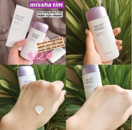 Kem chống nắng Missha all – around Safe Block Velvet Finish Sun Milk tím