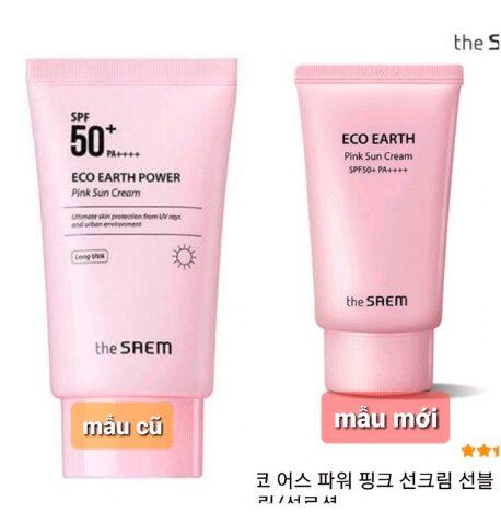 Mẫu mới của The SAEM Eco Earth Power Pink SPF 50+ PA++++ có tên gọi là The Saem Eco Earth Pink Sun CreamMẫu mới của The SAEM Eco Earth Power Pink SPF 50+ PA++++ có tên gọi là The Saem Eco Earth Pink Sun Cream