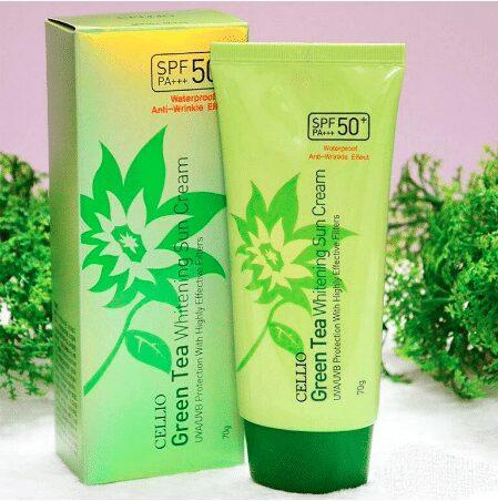Kem chống nắng Cellio Green Tea Whitening Sun Cream SPF50 PA+++