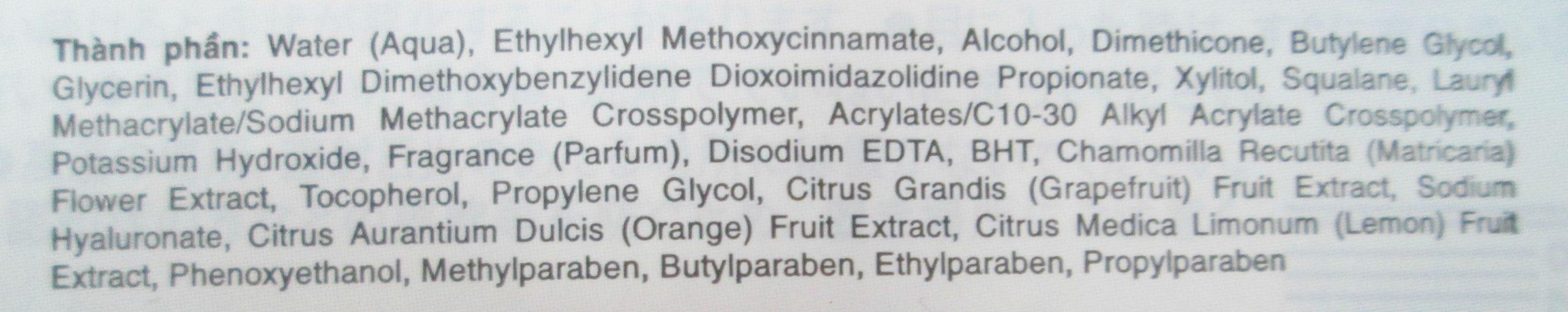 Thành phần kem chống nắng Biore Aquarich Jelly Water Base Whitening