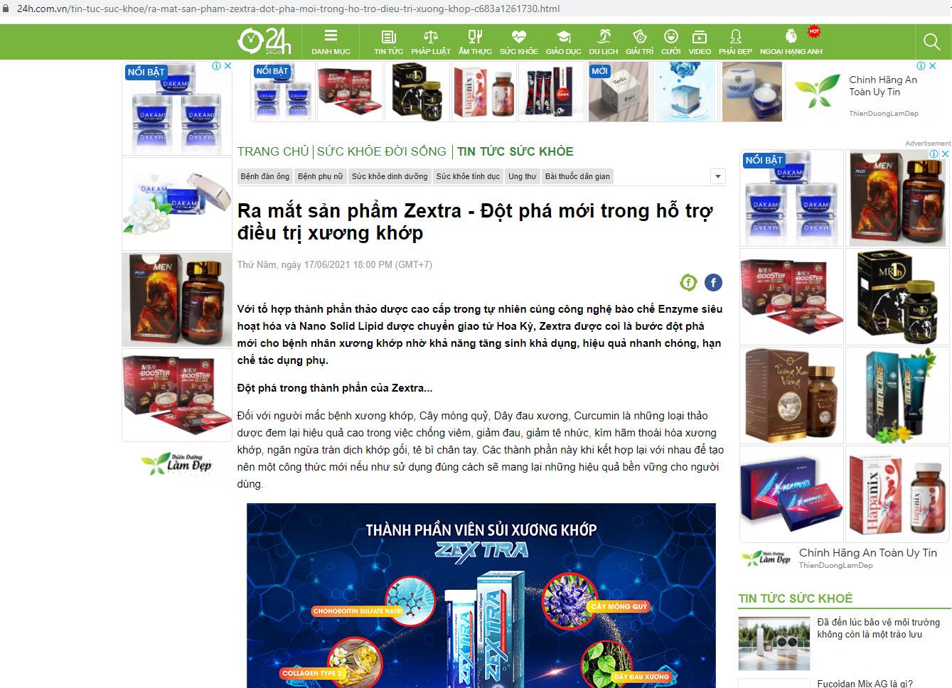 Báo 24h đưa tin về sản phẩm viên sủi Zextra