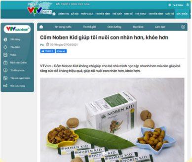 Báo VTV đưa tin về sản phẩm cốm trí não Noben kid