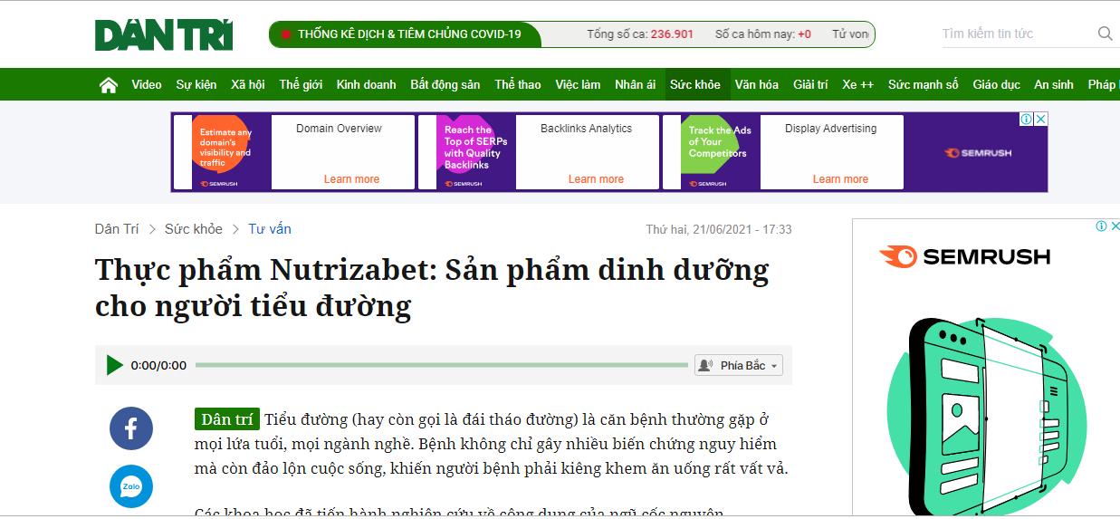 Báo dân trí đưa tin về Nutrizabet