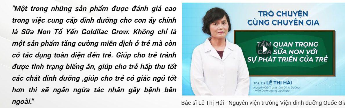 Chia sẻ của bác sĩ chuyên gia Lê Thị Hải nguyên viện trưởng viện dinh dưỡng quốc gia