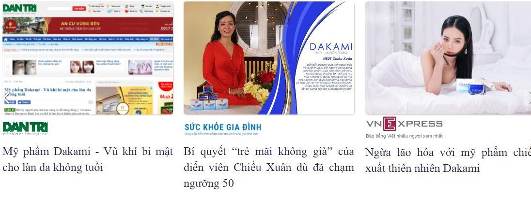 Báo chí đưa tin về sản phẩm kem chống lão hóa Dakami