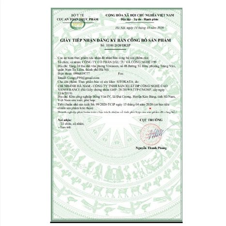 Giấy tiếp nhận đăng ký công bố sản phẩm Sitokata