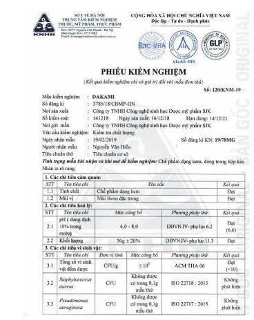 Kem Dakami được Bộ Y Tế kiểm nghiệm và cấp phép lưu hành