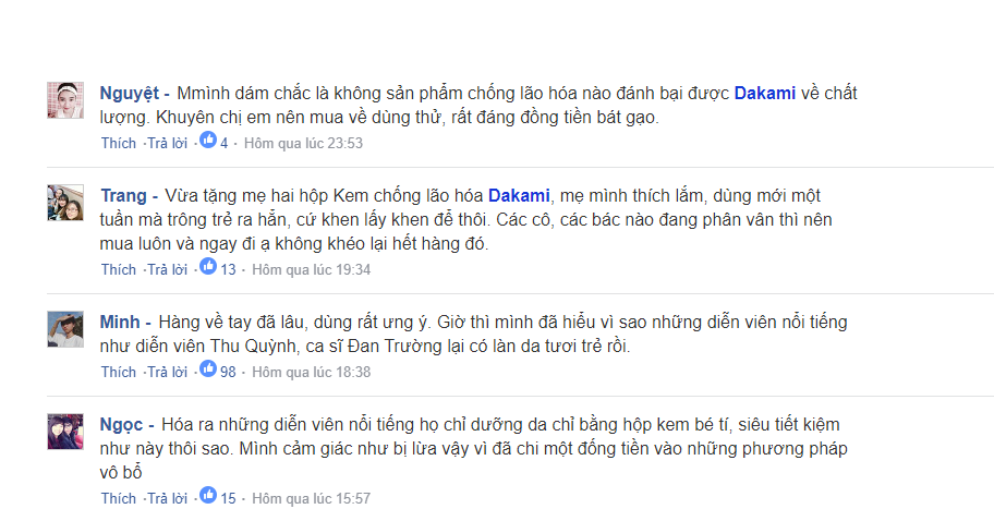 Rất nhiều người không tiếc lời khen ngợi sản phẩm Dakami