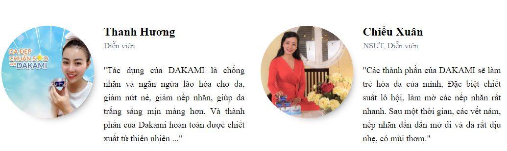 Rất nhiều người nổi tiếng tin dùng kem Dakami chống lão hóa cho làn da của mình